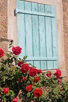 Bild Fenster Blumenschmuck Provence
