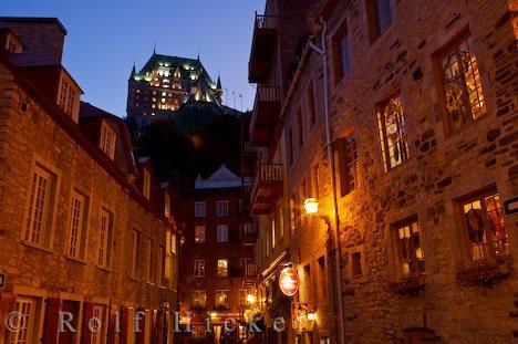 Bild Abend Straße Beleuchtung Rue Notre Dame Quebec City Kanada